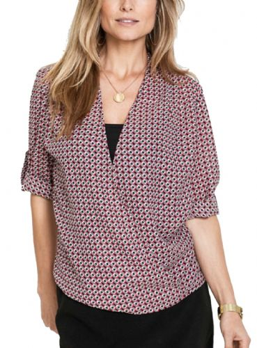 GEO PRINT 3/4 SLEEVE WRAP BLOUSE TOP NEW SIZES 10-20
